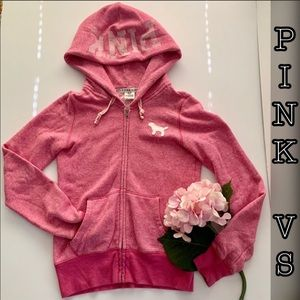 Victoria's Secret Pink Hood Zip Small Sweatshirt